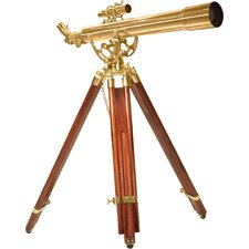 28 Power, 70060 Brass Refractor Telescope, Anchormaster with Mahogany Floor Tripod Statue