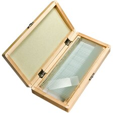 50 Blank Microscope Slides with Wooden Case