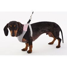 Dog Wear Mesh Harness in Pink and Gray