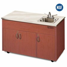 "Silver Advantage 48"" x 24"" Single Bowl Portable Handwash Station with Storage Cabinet"