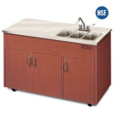 "Silver Advantage 48"" x 24"" Triple Bowl Portable Sink with Storage Cabinet"