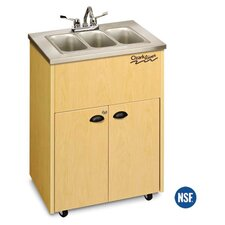 "Silver 26"" x 18"" Premier Portable Triple Hand Washing Station with Storage Cabinet"