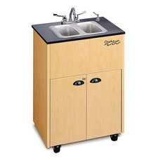 "Premier 26"" x 18"" Portable Double Handwashing Station with Storage Cabinet"