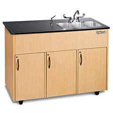 "Advantage 50"" x 24"" Triple Bowl Portable Hand Sink with Storage Cabinet"