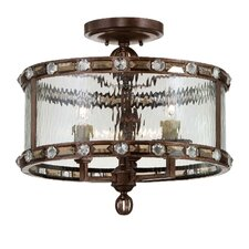 Diamond 3 Light Semi Flush Mount