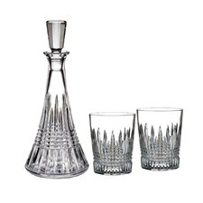 3 Piece Lismore Diamond Decanter And Double Old Fashioned Glass Set