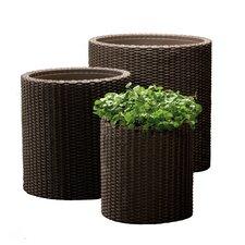 3 Piece Rattan Planter Set
