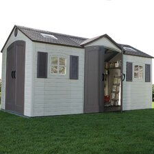 "Dual Entry 7'8.75"" W x 14'7.5"" D Steel and Plastic Garden Shed"