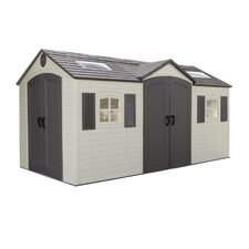Dual Entry 7.5' W x 14.5' D Steel and Plastic Garden Shed
