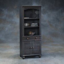 Harbor View Library Bookcase with Doors in Distressed Antiqued Paint