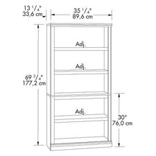 Storage Five Shelf Bookcase