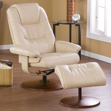 Urban Leather Ergonomic Recliner and Ottoman