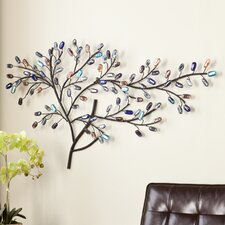 Windswept Metal and Glass Tree Wall Sculpture