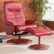 Stanley Bonded Leather Recliner and Ottoman