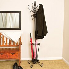 Iron Coat Rack with Umbrella Stand