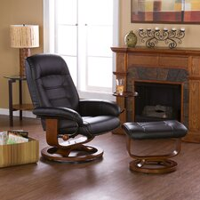 Shaw Leather Ergonomic Recliner and Ottoman