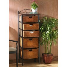 Utah 5-Drawer Wicker Storage Unit
