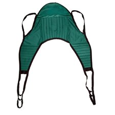 600 lbs Padded Patient Lift U Sling in Green with Head Support