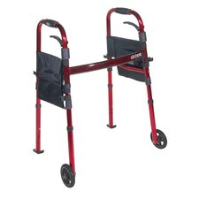 """Portable Folding Travel Walker with 5"""" Wheels and Fold up Legs"""