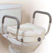 Raised Toilet Seat with Tool Free Removable Padded Arms