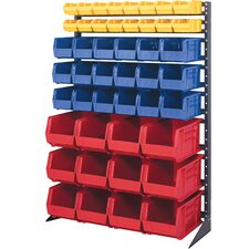 Single Sided 16-Rail Hanging System Plastic Bins