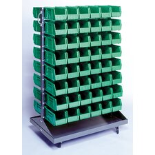 Double Sided Steel Rail Rack with Various Bin Sizes and Optional Mobile Kit
