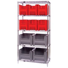 "<strong>Quantum Storage</strong> Q-Stor 5 Shelf Unit with Various Giant Hopper Bins (74"" H x 36"" W x 18"" D) with Optional Mobile Kit"