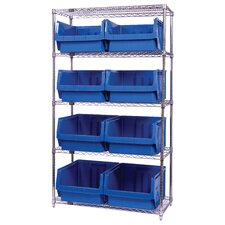 "<strong>Quantum Storage</strong> Q-Stor 5 Shelf Unit with Magnum Bins (74"" H x 42"" W x 18"" D) with Optional Mobile Kit"