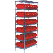 Quick Pick Bins Wire Shelving Unit with 26 Small Bins with Optional Mobile Kit