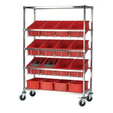 "18"" Slanted Wire Pick Racks Storage Unit with Dividable Grid Bins"