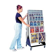 "<strong>Quantum Storage</strong> 48"" Mobile Double Sided Floor Stand Storage Unit with Tip Out Bins"