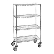 "Small 54"" Q-Stor Chrome Wire Shelving (Starter Kit) with Optional Mobile Kit"