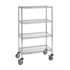 "Large 74"" Q-Stor Chrome Wire Shelving (Starter Kit) with Optional Mobile Kit"
