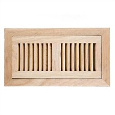 "4"" x 10"" Red Oak Flush Mount Vent Cover with Damper"
