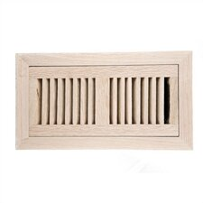 "4"" x 10"" White Oak Flush Mount Vent Cover with Damper"