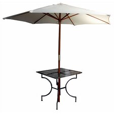 "Iron Square Dining Table with 2.75"" Umbrella Holder"