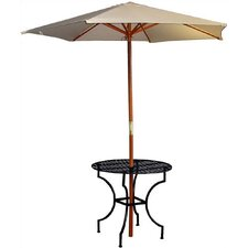 "Easy to Assemble Iron Round Dining Table with 2.75"" Umbrella Holder"