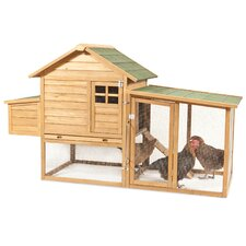 Peak Roof Complete Chicken Coop with 2 Roosting Bar