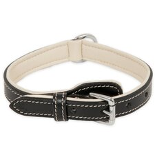Black and Cream Leather Dog Collar