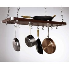 <strong>Concept Housewares</strong> Rectangular Wood Hanging Pot Rack