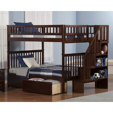Woodland Full Over Full Bunk Bed with 2 Urban Bed Drawers and Staircase