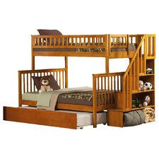 Woodland Twin Over Full Bunk Bed with Trundle & Staircase