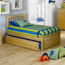 <strong>Atlantic Furniture</strong> Brooklyn Platform Bed with Raised Panel Footboard and Trundle in Natural Maple