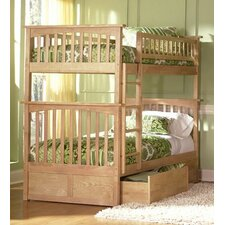Columbia Bunk Bed with Flat Panel Drawers