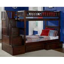 <strong>Atlantic Furniture</strong> Columbia Staircase Bunk Bed with Raised Panel Drawers