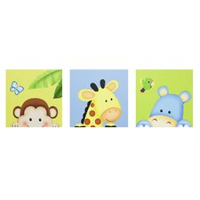 3 Piece Sunny Safari Wooden Canvas Art Set