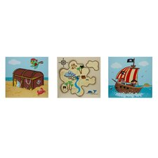 3 Piece Fantasy Fields Pirates Island Wall Art Set