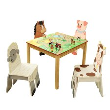 Happy Farm Room Kid's 5 Piece Square Table and Chair Set