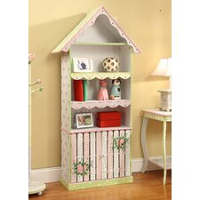 Crackled Rose Room Girls Bookcase with Cabinet
