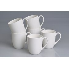 "0,4L Kaffeebecher ""Queen"" aus Bone-China-Porzellan in Uni-Weiß (6er Pack)"